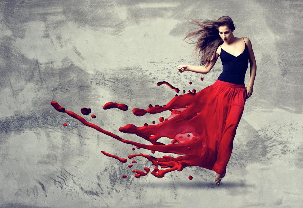 Tänzerin, deren Rock sich in Farbe auflöst
