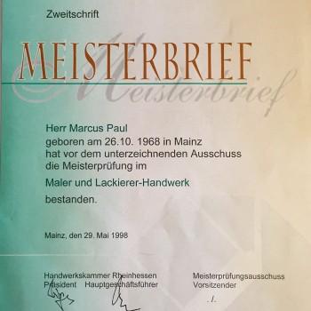 Meisterbrief der Handwerkskammer Rheinhessen