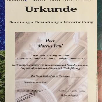 Urkunde Beratung/Gestaltung/Verarbeitung