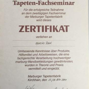 Zertifikat für die Teilnahme am Tapeten-Fachseminar
