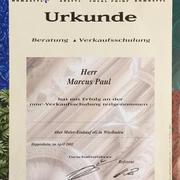 Urkunde Beratung/Verkaufsschulung