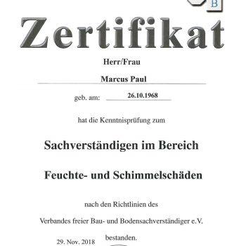 Zertifikat zum Sachverständigen für Feuchte- und Schimmelschäden